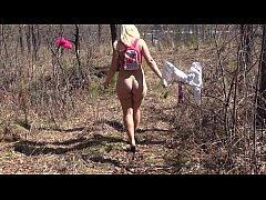 Fusion with nature in the outdoors. Blonde with...