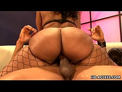 Ebony hottie with big ass riding cock like mad