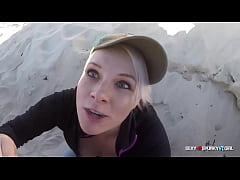 Amateur Sloppy Blow Job on the Beach & Swallow ...