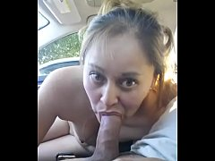 Slut giving blowjob in car and swallowing all cum