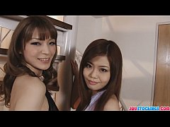 Nao and Yuria posing in sexy black stockings