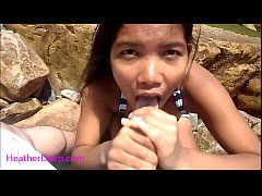 Heather Deep public outdoor deepthroat cum swal...