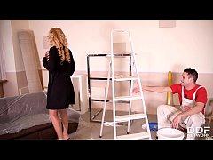 Busty blonde Peneloppe Ferre spreads her legs for Brit stud's veiny dick