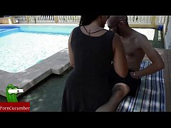 A massage at the pool ends in food cock and cum...