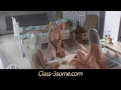 Three sexy blonde teens worship horny dick in b...