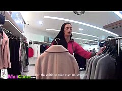 Blonde Girl after persuading goes shopping with...