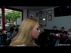 Blonde caned and anal fucked in bar