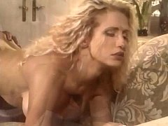 Busty blonde milf fucking in thigh high stockings
