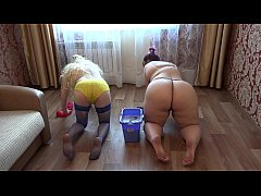 Lesbians with beautiful asses wash the floor an...
