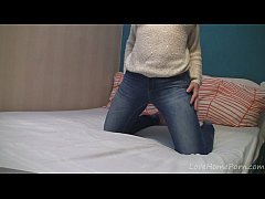 Teen wearing jeans goes naked and masturbates