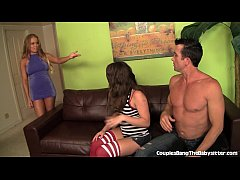 Horny Couple Take Advantage Of The Hot Babysitter!