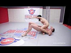 Busty Crystal Rush naked wrestling battle force...