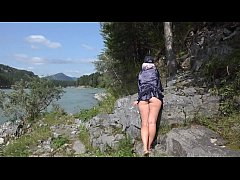 Without panties under a skirt in nature. And a ...