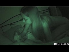 He gets a blowjob by her stepsister while her g...