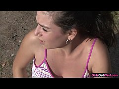 Busty amateur babe toys her pussy after jogging