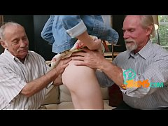 Petite redhead takes an elderly pecker into her...