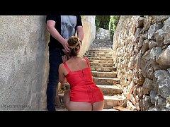 sexy bodycon slut - risky public fuck on stairs...