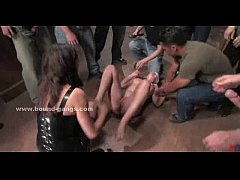 Slut tied from table brutally fucked in the mou...