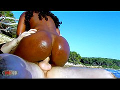 Hot Black African  slut fucking white cock on a...