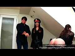 Caning a beautiful girl with a male.