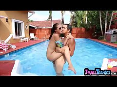 Extra small teenie swimming lesson ends in a cu...