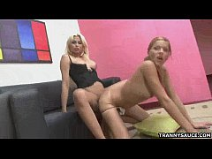 Hot blonde shemale gets fucked anally by a tranny