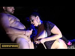 Masked man hot threesome with horny BBW brunette