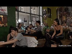Euro slut gangbanged in public bar