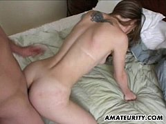 Amateur girlfriend anal with handjob cumshot