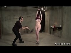Purple Haired Beauty Is Bound And Whipped
