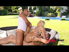 Two big hard dicks make blonde busty glamour ba...