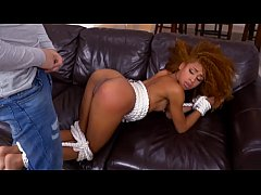 Cute black teen gets tied up and fucked hard