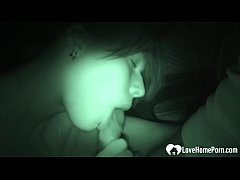 Night cam captured a beauty sucking a cock