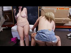 Two hotties fucking with nasty pawn guy