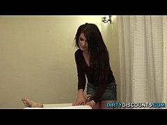 POV brit beauty jerking off massage client