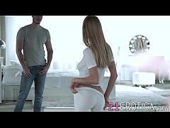 Astonishing blonde beauty seduces her man into ...