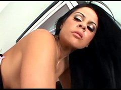 Pretty brunette getting fucked in pink stockings