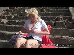 Blonde Hungarian amateur public blowjob and fuck