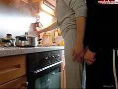 Amateur Big Tits Fucks in kitchen