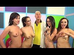 Four slutty women make a lucky guy cum - Jennif...