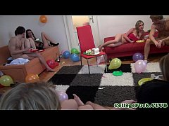 Spitroasted college eurobabe at dorm party