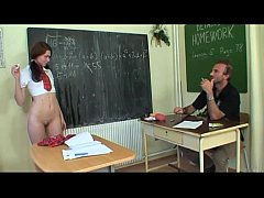 Schoolgirl forced by her teacher to take off he...