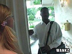white girl Roxi fucks religious black guy