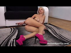 Puffy Pussy - Czech blonde toys her pussy and a...