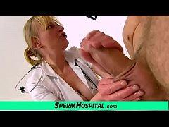 Gabina a mature uniform woman CFNM exam and han...