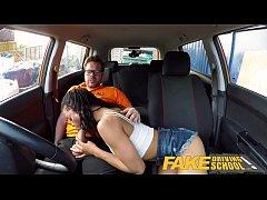 Fake Driving School Ebony American minx Kira No...