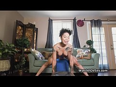 Ebony gf blows after getting her ass rimmed