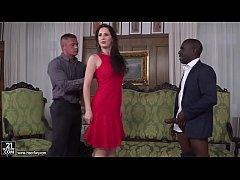 Hot euro girl enjoys interracial double penetra...