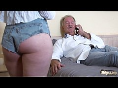 Teen blonde grabs grandpa's cock and sucks it d...