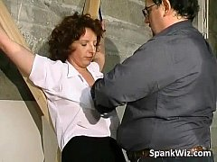 Tied sexy brunette gets her hot ass
